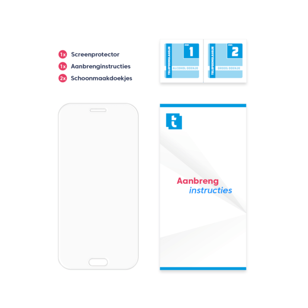 Inhoud verpakking Samsung Galaxy A5 2017 screenprotector Edge to Edge Transparant