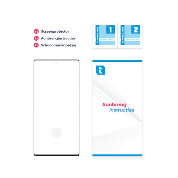 Inhoud verpakking Samsung Galaxy Note 10 Plus screenprotector Edge to Edge