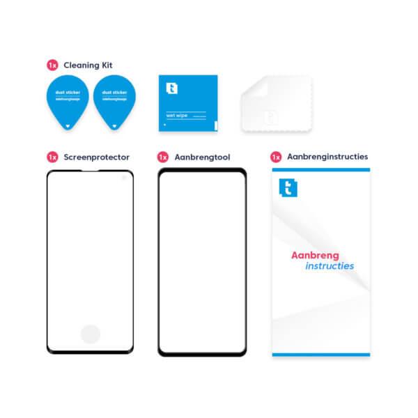 Inhoud verpakking Galaxy S10 screenprotector