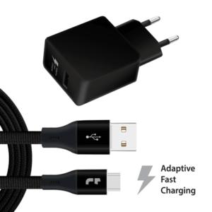USB-C naar USB 1 meter oplader met adapter