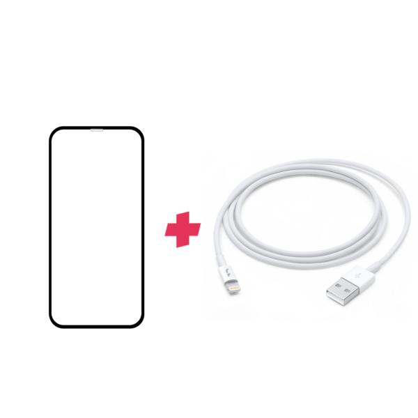 Bundel: iPhone 11 Pro screenprotector met Lightning kabel 1 meter