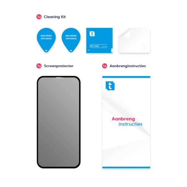 Inhoud verpakking iPhone 11 Pro screenprotector Privacy Edge to Edge
