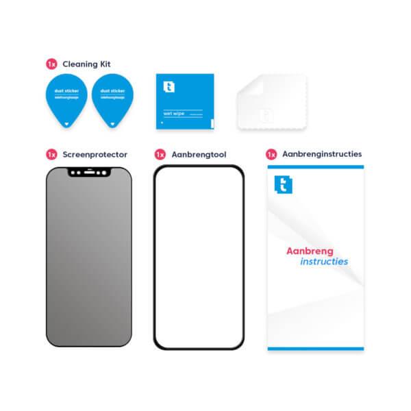 Inhoud Telefoonglaasje iPhone 12 Privacy screenprotector met installatie tool gehard glas
