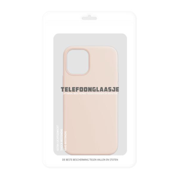 Telefoonglaasje iPhone 12 siliconen hoesje - Pink Sand