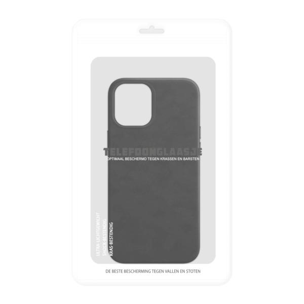 iPhone 12 Magsafe hoesje leer zwart in sealbag