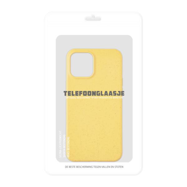 iPhone 12 Bio Hoesje Geel in verpakking